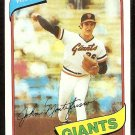 SAN FRANCISCO GIANTS JOHN MONTEFUSCO 1980 TOPPS # 195 NM/MT