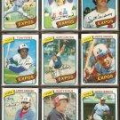 1980 TOPPS MONTREAL EXPOS TEAM LOT 26 DIFF GARY CARTER TONY PEREZ ANDRE DAWSON RUSTY STAUB