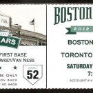 TORONTO BLUE JAYS BOSTON RED SOX 2012 TICKET ENCARNACION ARENCIBIA SALTAMACCHIA HR