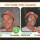 HOME RUN LDRS CINCINNATI REDS JOHNNY BENCH CHICAGO WHITE SOX DICK ALLEN 1973 TOPPS # 62 fair