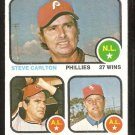 VICTORY LDRS PHILADELPHIA PHILLIES STEVE CARLTON INDIANS WHITE SOX 1973 TOPPS # 66 NM