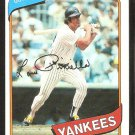 NEW YORK YANKEES LOU PINIELLA 1980 TOPPS # 225 NR MT