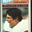 NEW ENGLAND PATRIOTS JOHN HANNAH 1977 TOPPS # 460 EX