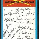 ATLANTA BRAVES 1973 TOPPS BLUE TEAM CHECKLIST EM 3 blocks marked
