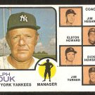 NEW YORK YANKEES RALPH HOUK & COACHES 1973 TOPPS # 116 VG+