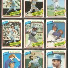 1980 Topps Seattle Mariners Team Lot Willie Horton Bruce Bochte Jim Abbott Floyd Bannister J Cruz