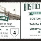 TAMPA BAY RAYS BOSTON RED SOX 2012 TICKET JAMES SHIELDS EVAN LANGORIA