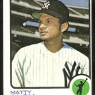 NEW YORK YANKEES MATTY ALOU 1973 TOPPS # 132 VG