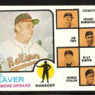 Baltimore Orioles Earl Weaver and Coaches 1973 Topps Baseball Card # 136 vg
