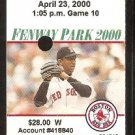 Cleveland Indians Boston Red Sox 2000 Ticket Pedro Martinez Carl Everett Home Run