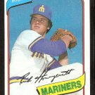 Seattle Mariners Rick Honeycutt 1980 Topps Baseball Card # 307 nr mt