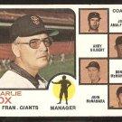 San Francisco Giants Charlie Fox and Coaches 1973 Topps Baseball Card # 252 vg