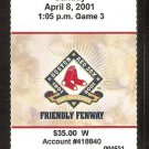 Tampa Bay Rays Boston Red Sox 2001 Ticket Pedro Martinez 16k Carl Everett Manny Ramirez Fred McGriff