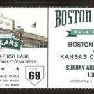 Kansas City Royals Boston Red Sox 2012 Ticket Lorenzo Cain Dustin Pedroia Pedro Ciriaco HR