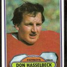 New England Patriots Don Hasselbeck 1980 Topps Football Card # 311