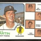 DETROIT TIGERS BILLY MARTIN & COACHES 1973 TOPPS # 323 NM