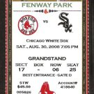 Chicago White Sox Boston Red Sox 2008 Ticket Dustin Pedroia AJ Pierzynski Michael Bowden Ellsbury