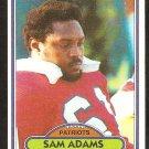 New England Patriots Sam Adams 1980 Topps Football Card # 139 ex