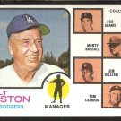 Los Angeles Dodgers Walter Alston and Coaches 1973 Topps Baseball Card # 569
