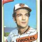 Baltimore Orioles Mark Belanger 1980 Topps Baseball Card #425 nr mt