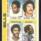 Buffalo Bills Team Leaders OJ Simpson 1978 Topps Football Card # 503 ex
