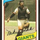 San Francisco Giants Mike Sadek 1980 Topps Baseball Card # 462 nr mt