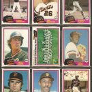 1981 Topps San Francisco Giants Team Lot Jack Clark Vida Blue Team Card Montefusco Darrell Evans