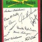 Baltimore Orioles Red Team Checklist marked 1974 Topps Baseball Card g/vg