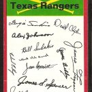 Texas Rangers Red Team Checklist 1974 Topps Baseball Card g/vg unmarked