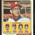 PHILADELPHIA PHILLIES DANNY OZARK & COACHES 1974 TOPPS # 119 good