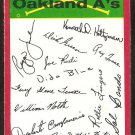Oakland Athletics Red Team Checklist 1974 Topps Baseball Card ex/em