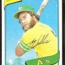 Oakland Athletics Joe Wallis 1980 Topps Baseball Card # 562 nr mt