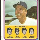 LOS ANGELES DODGERS WALTER ALSTON TOM LaSORDA & COACHES 1974 TOPPS # 144 VG