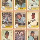 1981 Fleer Kansas City Royals Team Lot George Brett Willie Wilson Amos Otis Hal McRae Quisenberry