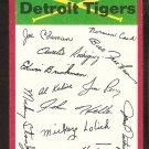 Detroit Tigers Red Team Checklist 1974 Topps Baseball Card