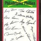 Philadelphia Phillies Red Team Checklist 1974 Topps Baseball Card g/vg unmarked