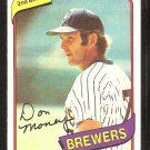 Milwaukee Brewers Don Money 1980 Topps Baseball Card # 595 nr mt