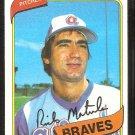 Atlanta Braves Rick Matula 1980 Topps Baseball Card # 596 nr mt