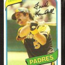 San Diego Padres Fred Kendall 1980 Topps Baseball Card # 598 nr mt