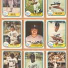 1981 Fleer Los Angeles Dodgers Team Lot Steve Garvey Don Sutton Mike Sciocia Fernando Valenzuela