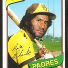 San Diego Padres Gene Richards 1980 Topps Baseball Card # 616 nr mt