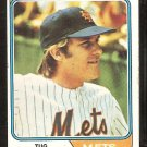1974 Topps Baseball Card # 265 New York Mets Tug McGraw ex