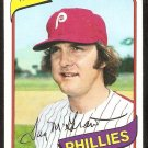 Philadelphia Phillies Tug McGraw 1980 Topps Baseball Card # 655 nr mt