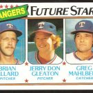 Texas Rangers Future Stars Brian Allard Jerry Don Gleaton Greg Mahlberg 1980 Topps # 673