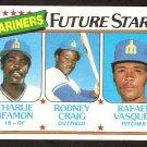 SEATTLE MARINERS FUTURE STARS CHARLIE BEAMON RODNEY CRAIG R VASQUEZS 1980 TOPPS BASEBALL CARD 672
