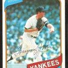 New York Yankees Tommy John 1980 Topps Baseball Card # 690 ex mt