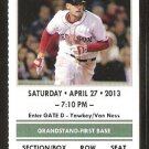 Houston Astros Boston Red Sox 2013 Ticket David Ortiz Ellsbury Dubrount Middlebrooks