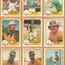 1981 Fleer Oakland Athletics Team Lot 22 diff Rickey Henderson Billy Martin Armas Heath