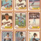 1981 FLEER MINNESOTA TWINS TEAM SET 21 DIFF KOOSMAN SMALLEY WYNEGAR +