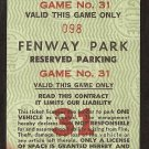 1980's BOSTON RED SOX FENWAY PARK RESERVED PARKING TICKET
